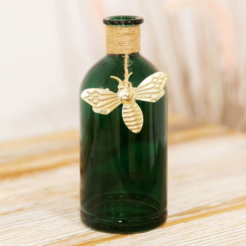 Dark Green Glass Vase With Gold Bee Charm